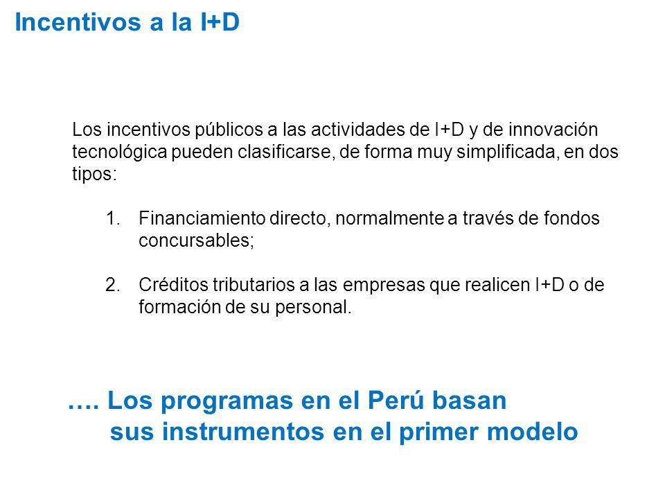 Incentivos a la I+D Los incentivos públicos a las actividades de I+D y de innovación tecnológica pueden clasificarse, de forma muy simplificada, en do