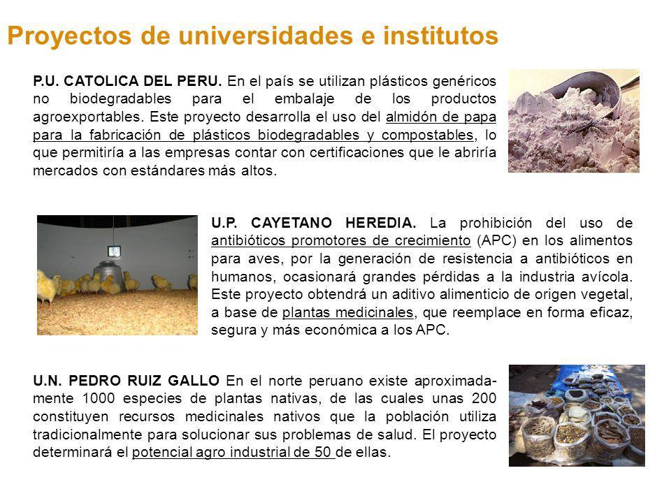 P.U. CATOLICA DEL PERU. En el país se utilizan plásticos genéricos no biodegradables para el embalaje de los productos agroexportables. Este proyecto