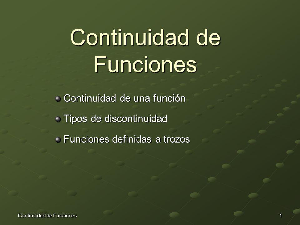 Continuidad de Funciones Continuidad de una función Continuidad de una función Tipos de discontinuidad Tipos de discontinuidad Funciones definidas a t