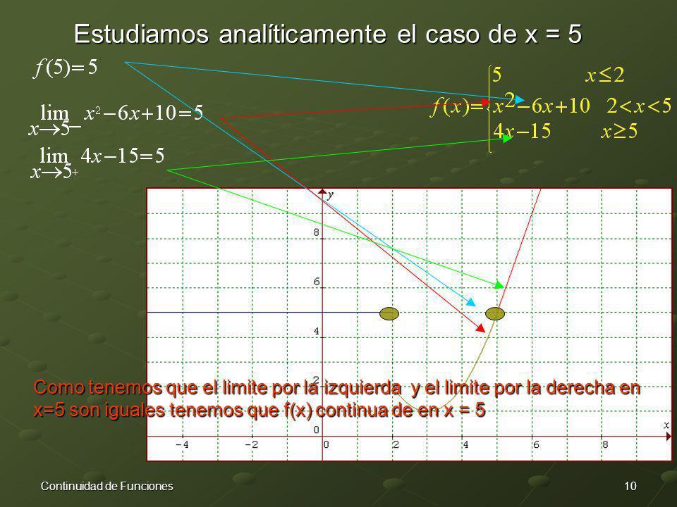 10Continuidad de Funciones Estudiamos analíticamente el caso de x = 5 Como tenemos que el limite por la izquierda y el limite por la derecha en x=5 so