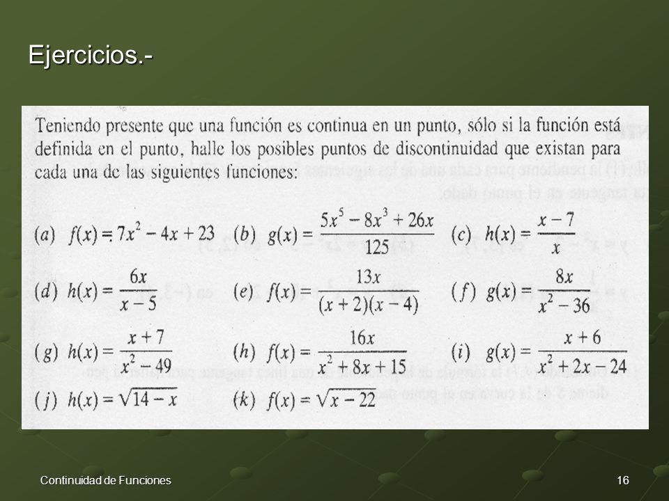 16Continuidad de Funciones Ejercicios.-