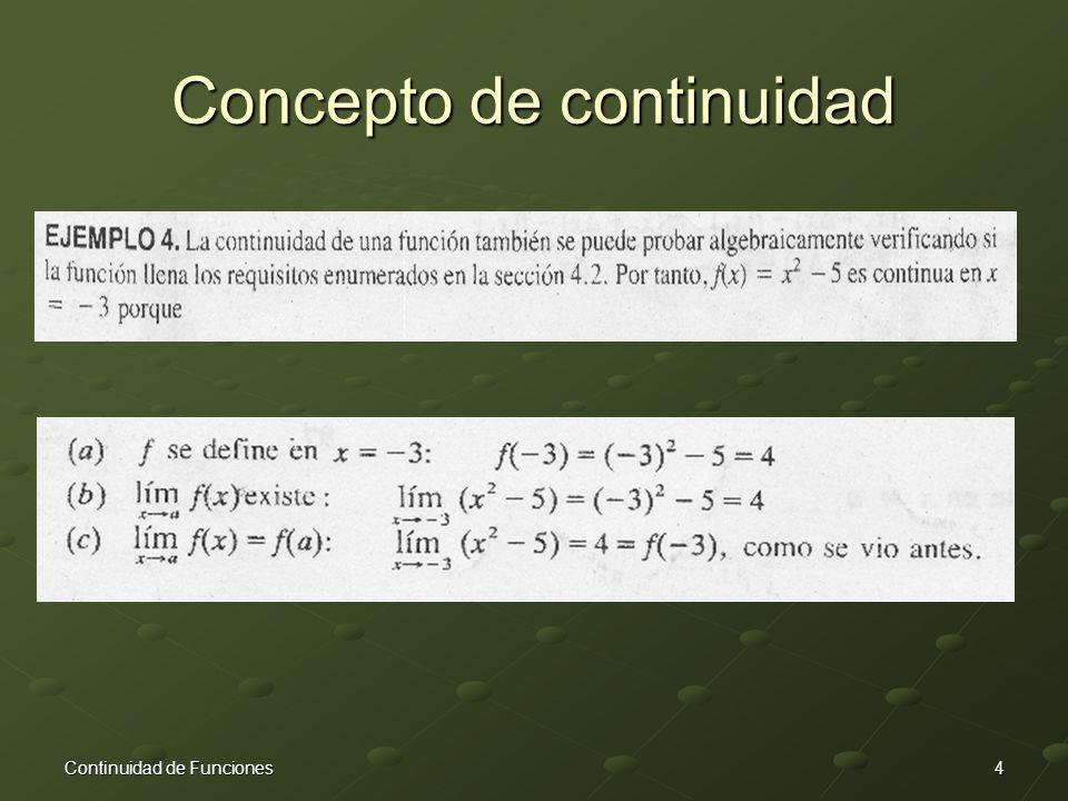 Concepto de continuidad 4Continuidad de Funciones