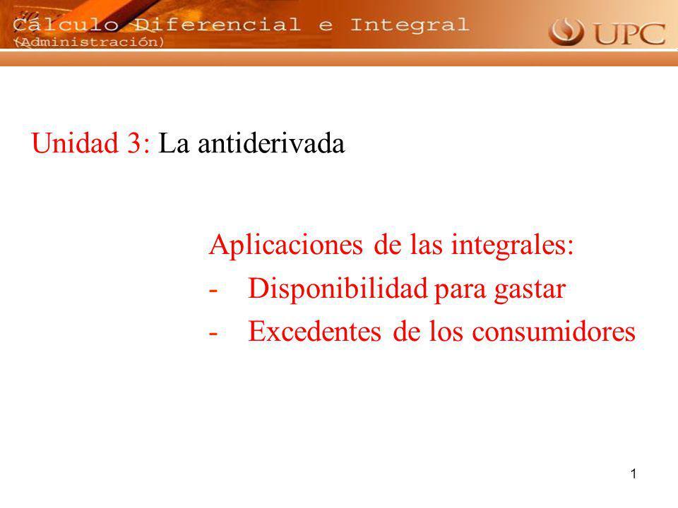 1 Unidad 3: La antiderivada Aplicaciones de las integrales: -Disponibilidad para gastar -Excedentes de los consumidores