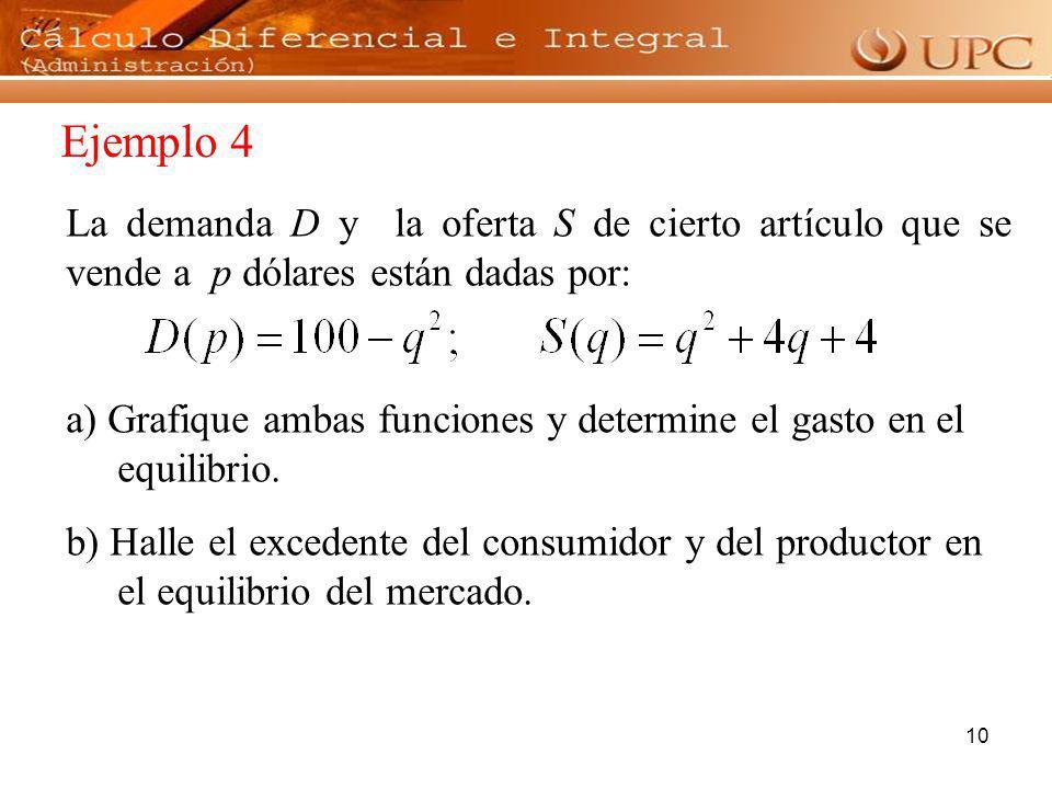 10 La demanda D y la oferta S de cierto artículo que se vende a p dólares están dadas por: a) Grafique ambas funciones y determine el gasto en el equi