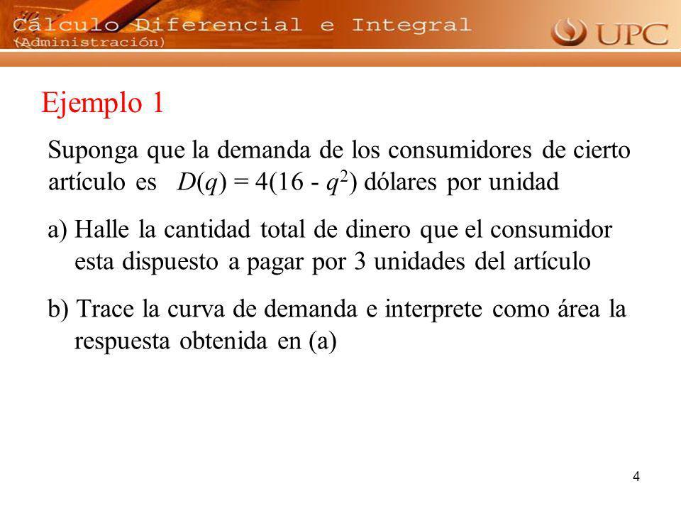 4 Ejemplo 1 Suponga que la demanda de los consumidores de cierto artículo es D(q) = 4(16 - q 2 ) dólares por unidad a) Halle la cantidad total de dine