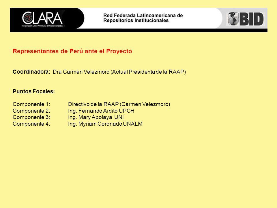 Representantes de Perú ante el Proyecto Coordinadora: Dra Carmen Velezmoro (Actual Presidenta de la RAAP) Puntos Focales: Componente 1: Directivo de la RAAP (Carmen Velezmoro) Componente 2: Ing.
