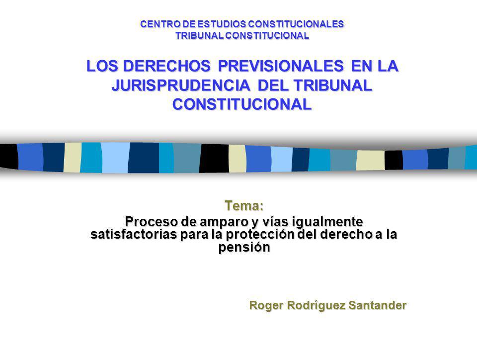 CENTRO DE ESTUDIOS CONSTITUCIONALES TRIBUNAL CONSTITUCIONAL LOS DERECHOS PREVISIONALES EN LA JURISPRUDENCIA DEL TRIBUNAL CONSTITUCIONAL Tema: Proceso de amparo y vías igualmente satisfactorias para la protección del derecho a la pensión Roger Rodríguez Santander