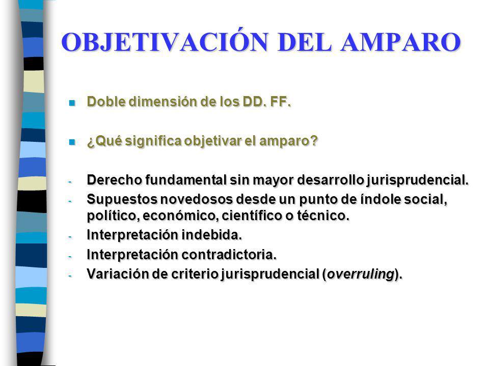 OBJETIVACIÓN DEL AMPARO n Doble dimensión de los DD. FF. n ¿Qué significa objetivar el amparo? - Derecho fundamental sin mayor desarrollo jurisprudenc