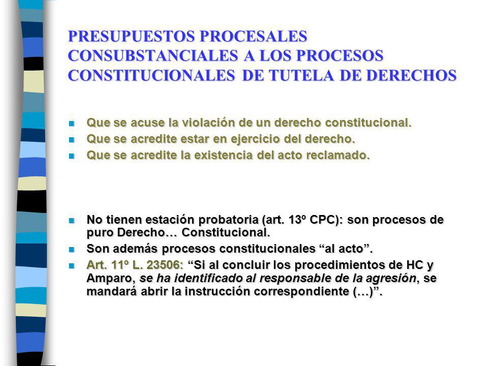 PRESUPUESTOS PROCESALES CONSUBSTANCIALES A LOS PROCESOS CONSTITUCIONALES DE TUTELA DE DERECHOS n Que se acuse la violación de un derecho constituciona