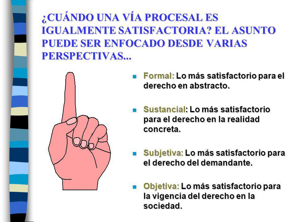 ¿CUÁNDO UNA VÍA PROCESAL ES IGUALMENTE SATISFACTORIA? EL ASUNTO PUEDE SER ENFOCADO DESDE VARIAS PERSPECTIVAS... n Formal: Lo más satisfactorio para el