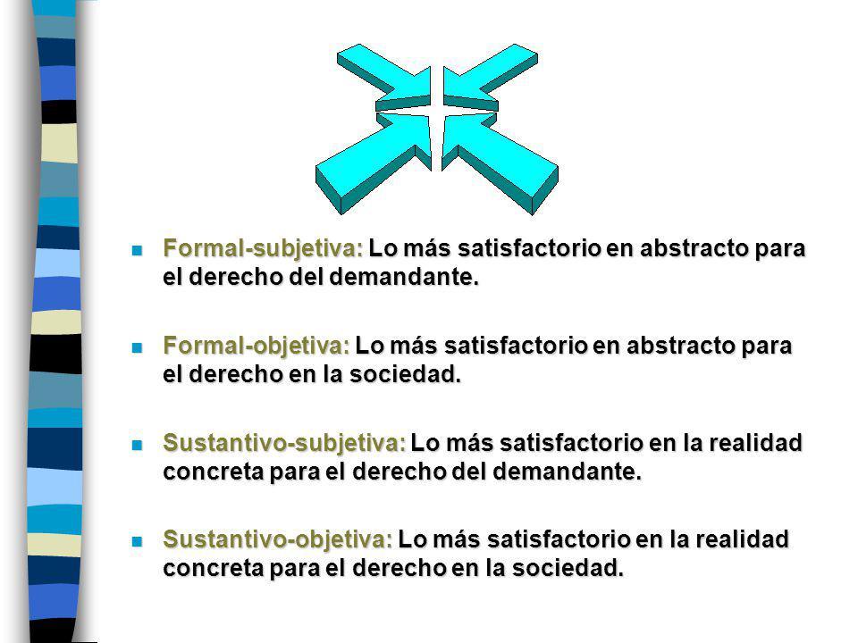 n Formal-subjetiva: Lo más satisfactorio en abstracto para el derecho del demandante.