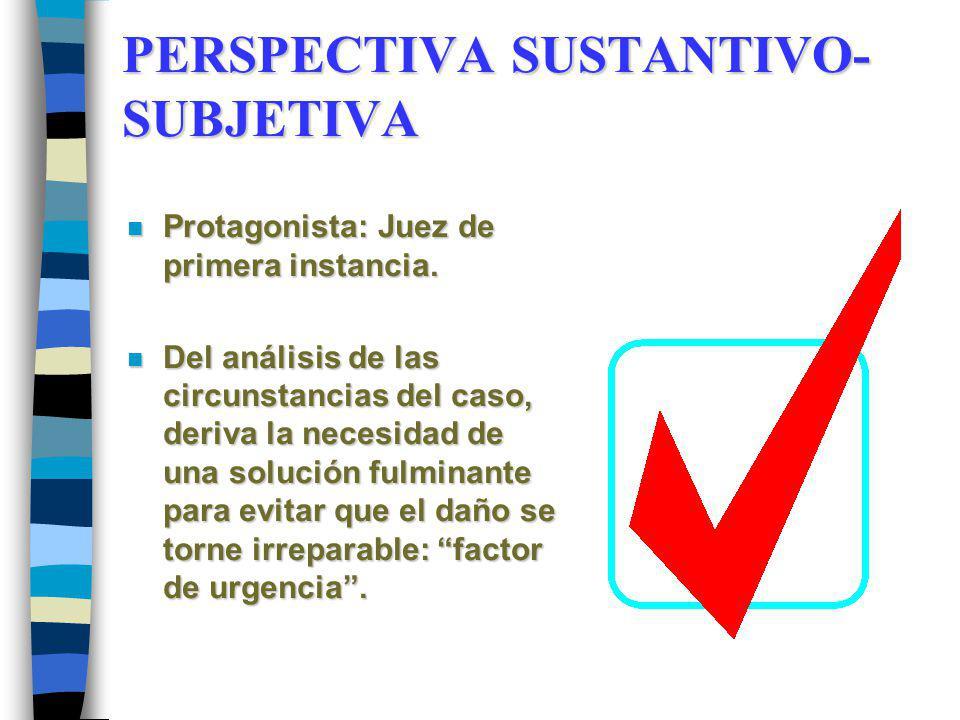 PERSPECTIVA SUSTANTIVO- SUBJETIVA n Protagonista: Juez de primera instancia. n Del análisis de las circunstancias del caso, deriva la necesidad de una