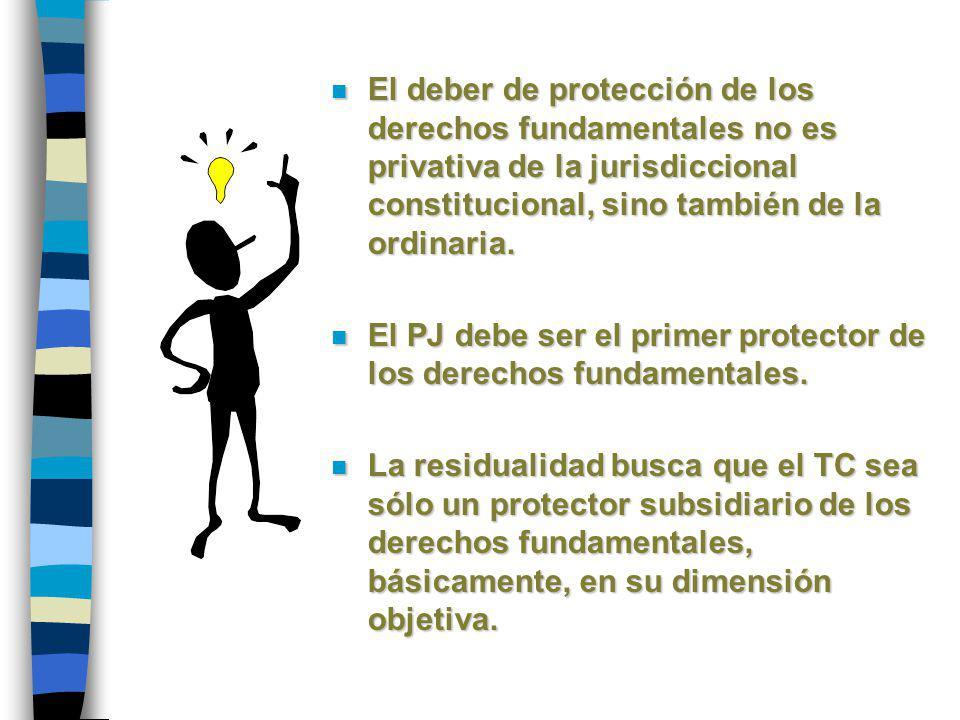 n El deber de protección de los derechos fundamentales no es privativa de la jurisdiccional constitucional, sino también de la ordinaria. n El PJ debe
