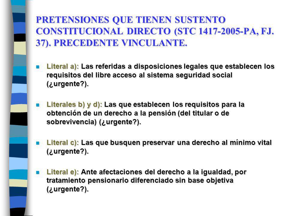 PRETENSIONES QUE TIENEN SUSTENTO CONSTITUCIONAL DIRECTO (STC 1417-2005-PA, FJ.