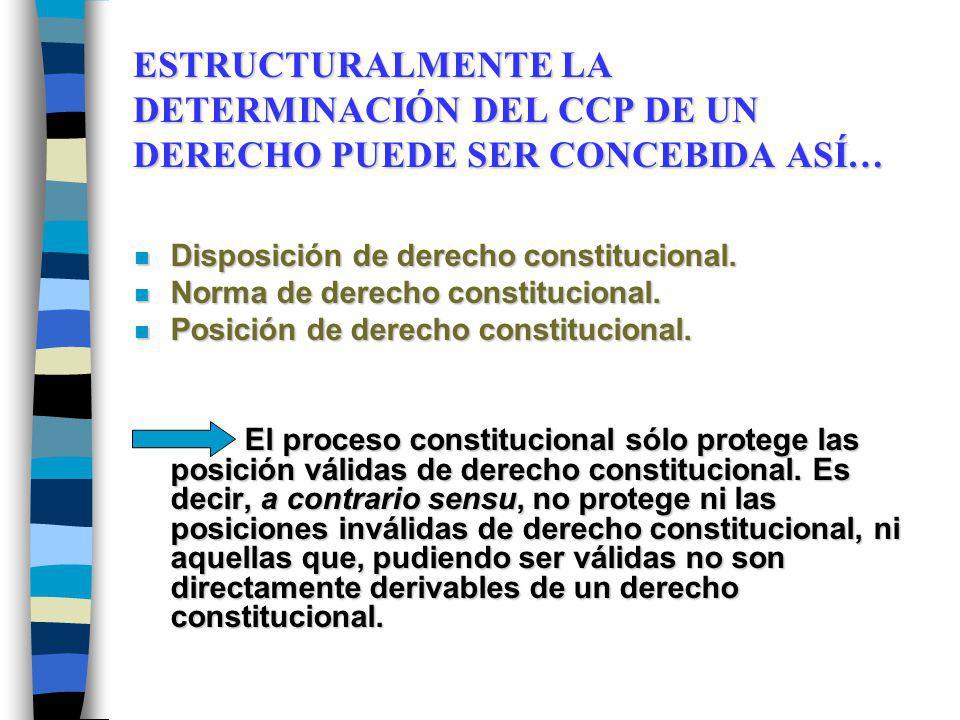 ESTRUCTURALMENTE LA DETERMINACIÓN DEL CCP DE UN DERECHO PUEDE SER CONCEBIDA ASÍ… n Disposición de derecho constitucional. n Norma de derecho constituc