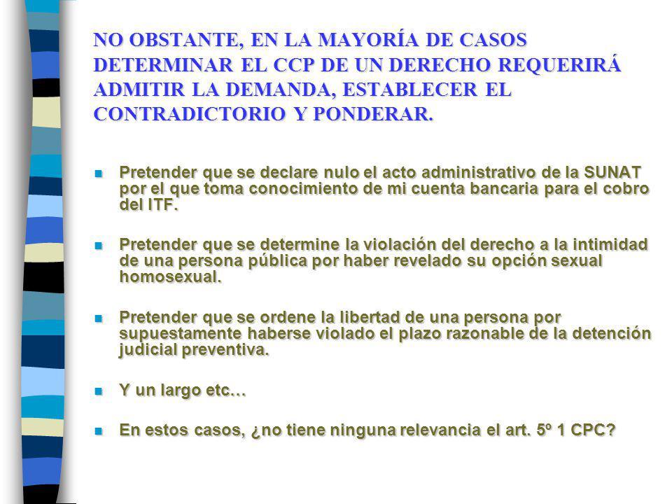 NO OBSTANTE, EN LA MAYORÍA DE CASOS DETERMINAR EL CCP DE UN DERECHO REQUERIRÁ ADMITIR LA DEMANDA, ESTABLECER EL CONTRADICTORIO Y PONDERAR. n Pretender