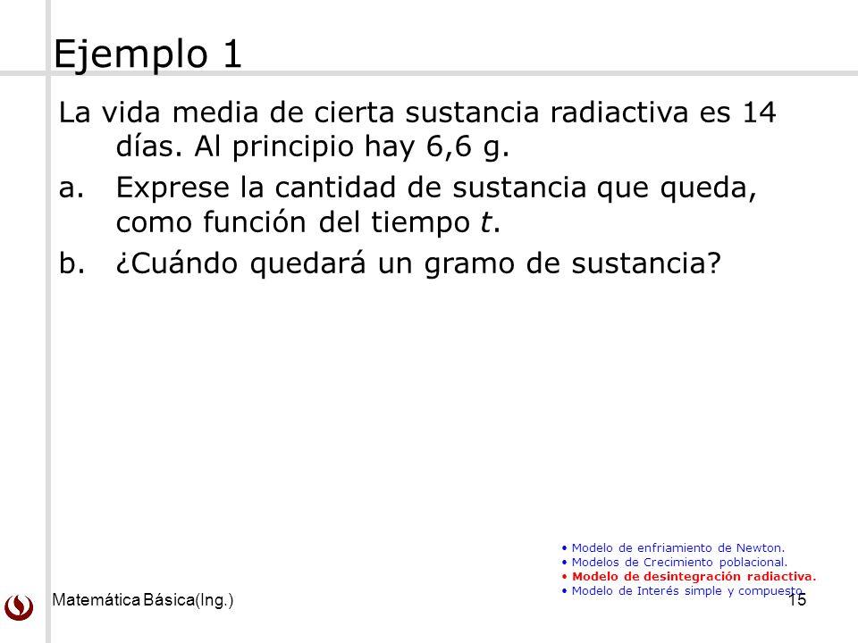 Matemática Básica(Ing.)15 La vida media de cierta sustancia radiactiva es 14 días.