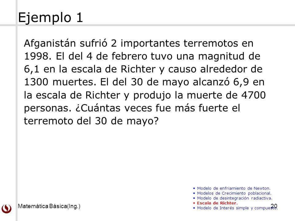 Matemática Básica(Ing.)20 Ejemplo 1 Afganistán sufrió 2 importantes terremotos en 1998.
