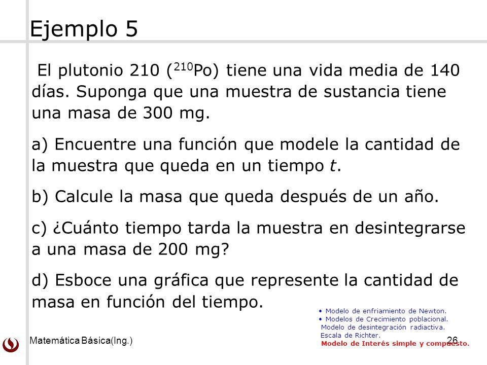 Matemática Básica(Ing.)26 El plutonio 210 ( 210 Po) tiene una vida media de 140 días.