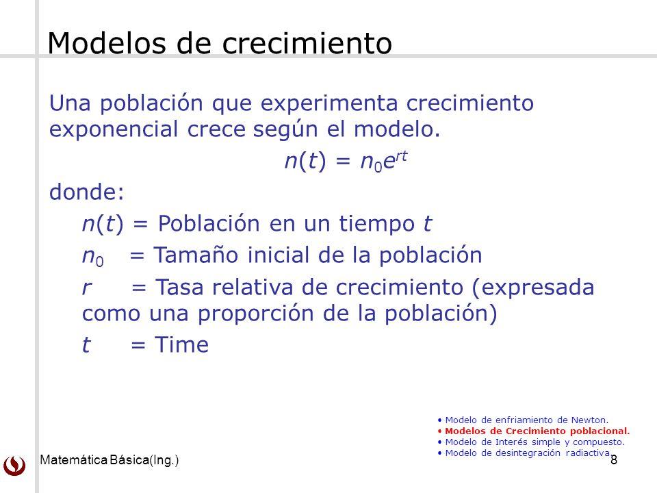 Matemática Básica(Ing.)8 Una población que experimenta crecimiento exponencial crece según el modelo.