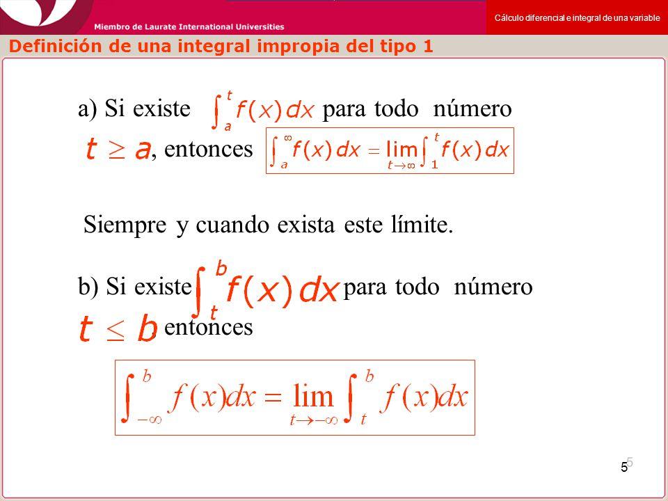 Cálculo diferencial e integral de una variable 6 Las integrales impropias de: Se llaman convergentes si existe límite y divergente si no existe c) Si son convergentes, entonces Definición de una integral impropia del tipo 1