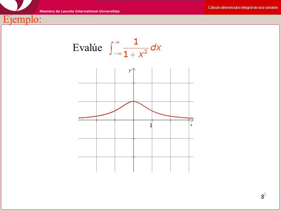 Cálculo diferencial e integral de una variable 8 Ejemplo: Evalúe