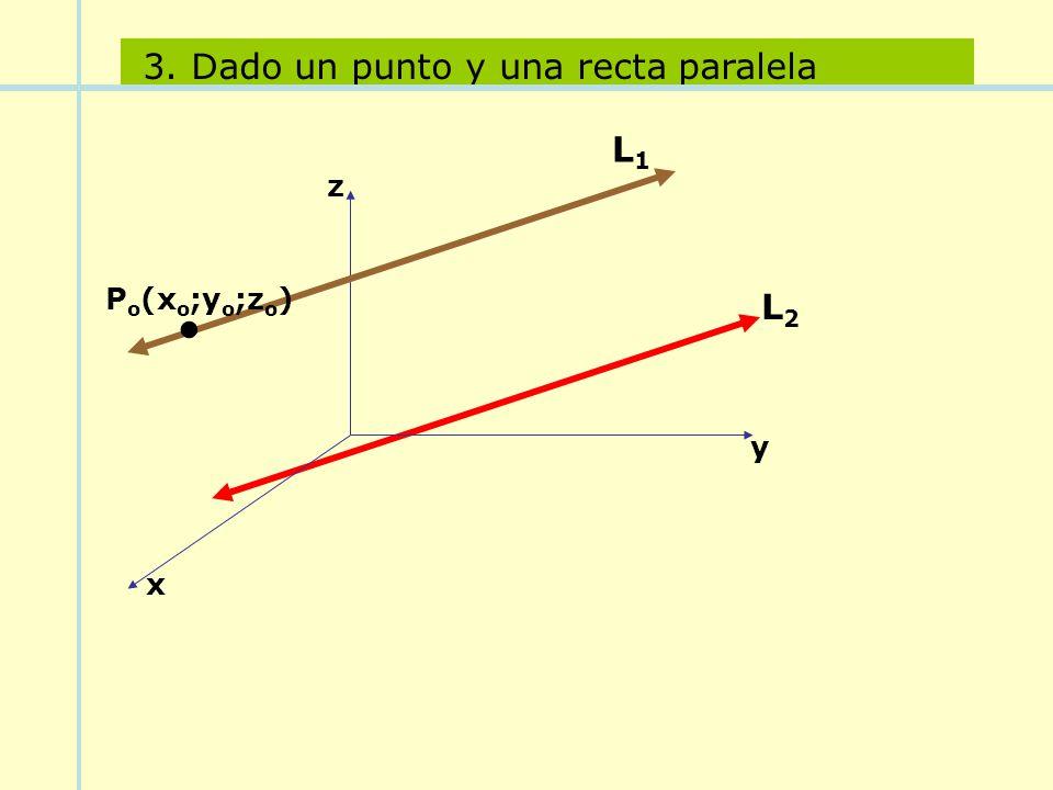 P o (x o ;y o ;z o ). y x z L1L1 3. Dado un punto y una recta paralela L2L2