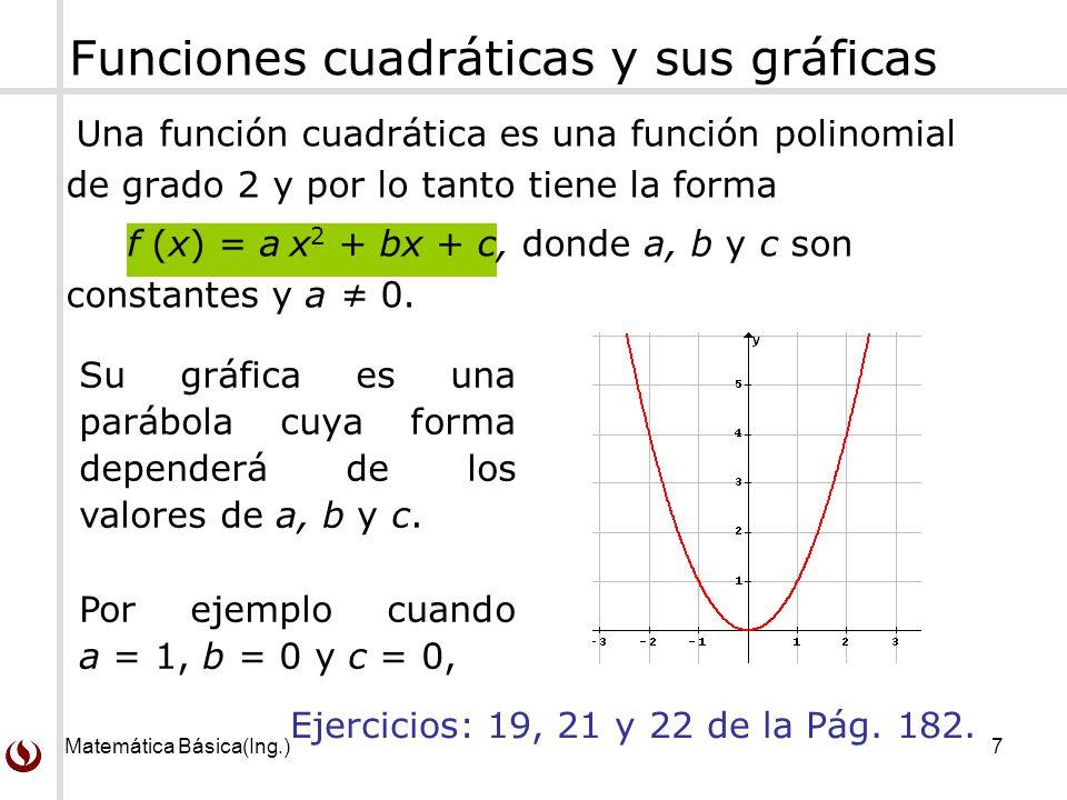 Matemática Básica(Ing.)8 Forma del vértice de una función cuadrática Cualquier función cuadrática f (x) = ax 2 + bx + c, con a 0, puede escribirse en la forma del vértice La gráfica de f es una parábola de vértice (h, k) y eje x = h, donde h = -b/(2a) y k = f (h), además la parábola: Se abre hacia arriba si a > 0.