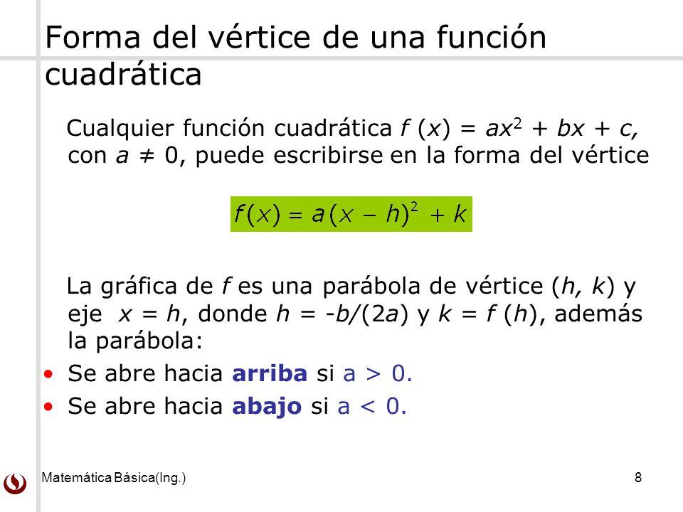 Matemática Básica(Ing.)8 Forma del vértice de una función cuadrática Cualquier función cuadrática f (x) = ax 2 + bx + c, con a 0, puede escribirse en