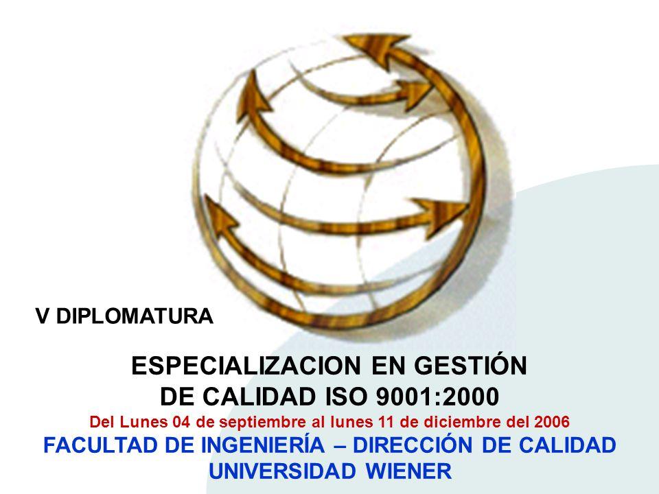ESPECIALIZACION EN GESTIÓN DE CALIDAD ISO 9001:2000 Del Lunes 04 de septiembre al lunes 11 de diciembre del 2006 FACULTAD DE INGENIERÍA – DIRECCIÓN DE