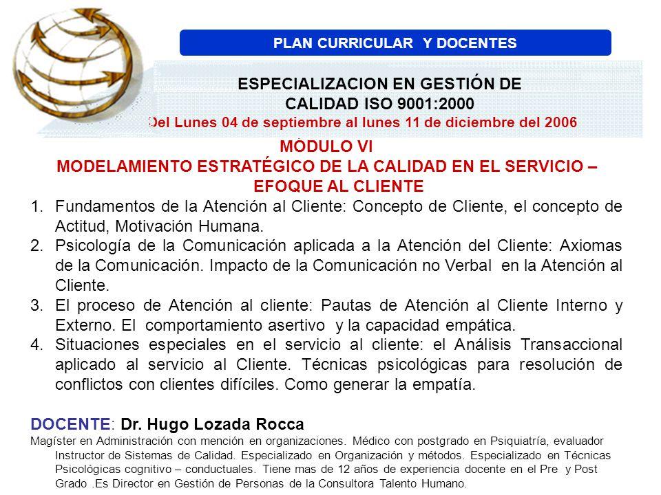 MÓDULO VI MODELAMIENTO ESTRATÉGICO DE LA CALIDAD EN EL SERVICIO – EFOQUE AL CLIENTE 1.Fundamentos de la Atención al Cliente: Concepto de Cliente, el c
