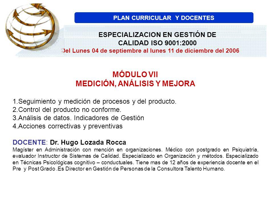 MÓDULO VII MEDICIÓN, ANÁLISIS Y MEJORA 1.Seguimiento y medición de procesos y del producto. 2.Control del producto no conforme. 3.Análisis de datos. I