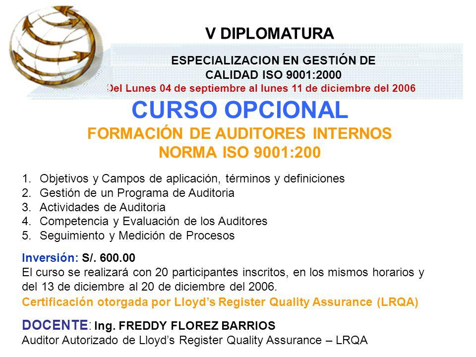 CURSO OPCIONAL FORMACIÓN DE AUDITORES INTERNOS NORMA ISO 9001:200 1.Objetivos y Campos de aplicación, términos y definiciones 2.Gestión de un Programa