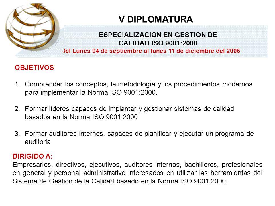 ESPECIALIZACION EN GESTIÓN DE CALIDAD ISO 9001:2000 Del Lunes 04 de septiembre al lunes 11 de diciembre del 2006 V DIPLOMATURA TEMADOCENTE MÓDULO I: CALIDAD.
