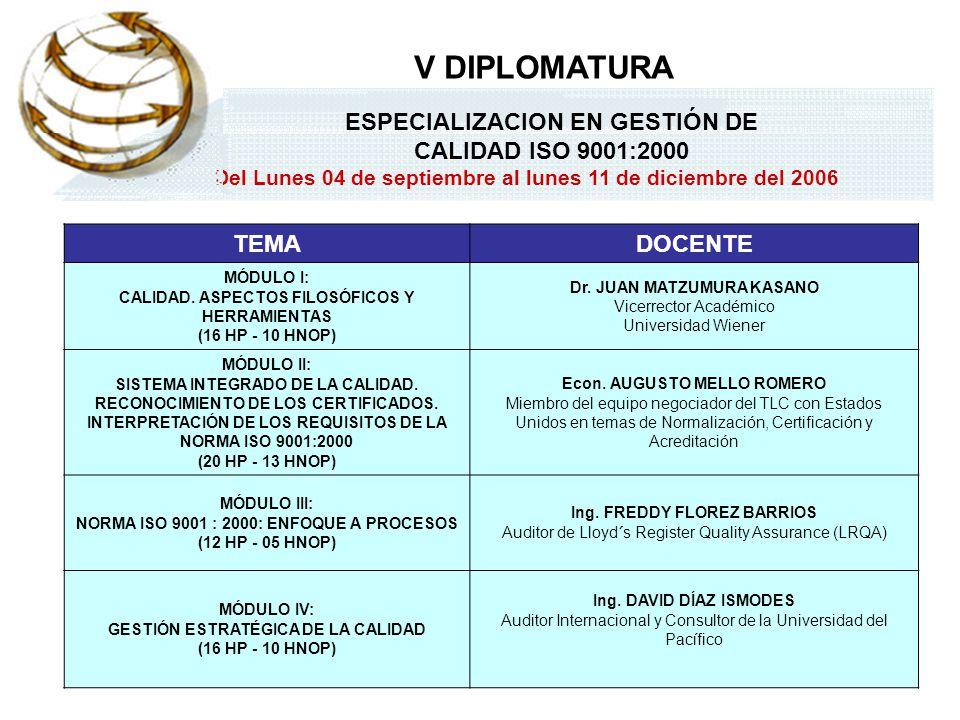 ESPECIALIZACION EN GESTIÓN DE CALIDAD ISO 9001:2000 Del Lunes 04 de septiembre al lunes 11 de diciembre del 2006 V DIPLOMATURA TEMADOCENTE MÓDULO I: C