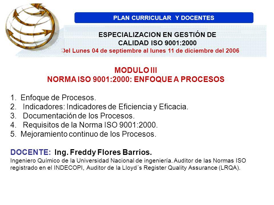 MODULO III NORMA ISO 9001:2000: ENFOQUE A PROCESOS 1.Enfoque de Procesos. 2. Indicadores: Indicadores de Eficiencia y Eficacia. 3. Documentación de lo