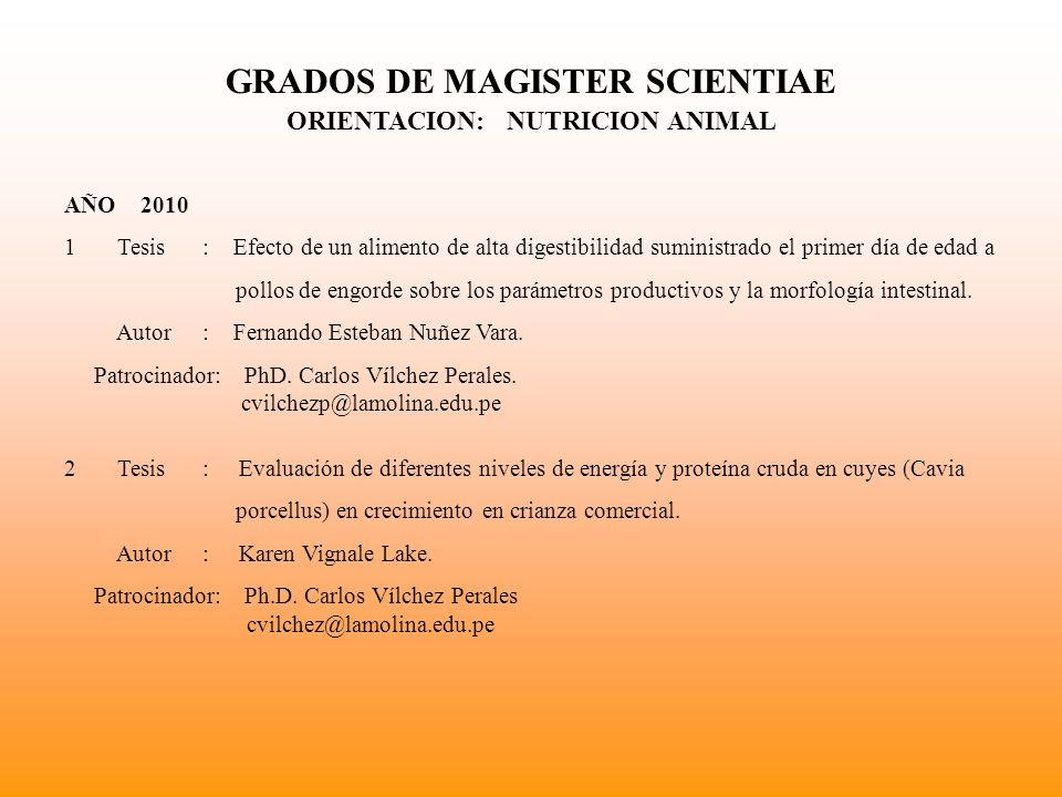 GRADOS DE MAGISTER SCIENTIAE MAESTRIA EN NUTRICION (ORIENTACION NUTRICION HUMANA)