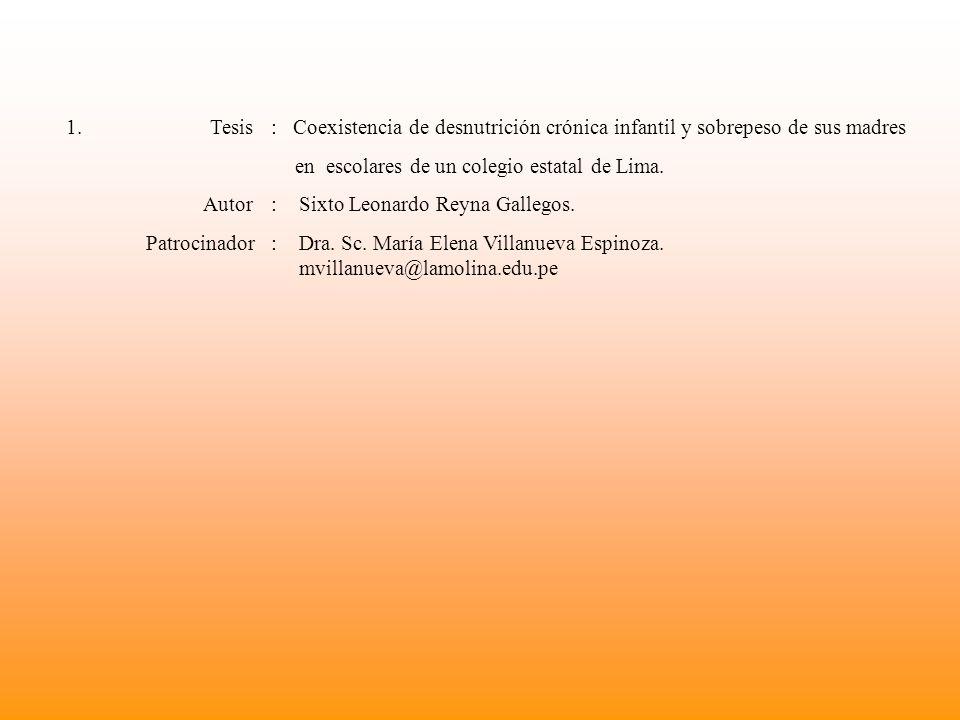 1. Tesis : Coexistencia de desnutrición crónica infantil y sobrepeso de sus madres en escolares de un colegio estatal de Lima. Autor : Sixto Leonardo