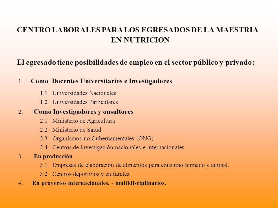 CENTRO LABORALES PARA LOS EGRESADOS DE LA MAESTRIA EN NUTRICION El egresado tiene posibilidades de empleo en el sector público y privado: 1.