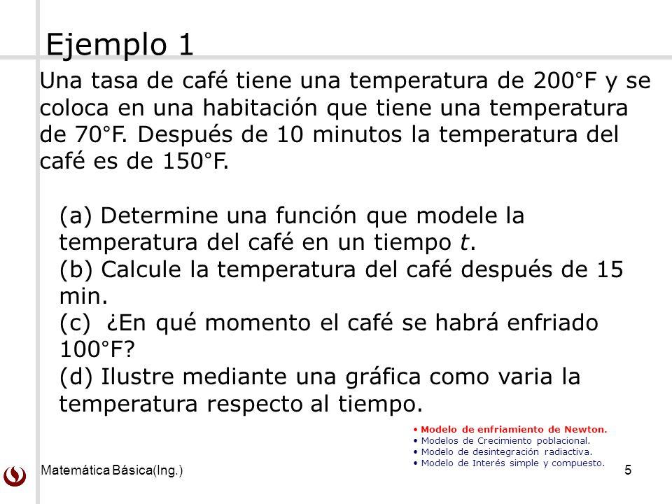 Matemática Básica(Ing.)5 Una tasa de café tiene una temperatura de 200°F y se coloca en una habitación que tiene una temperatura de 70°F. Después de 1