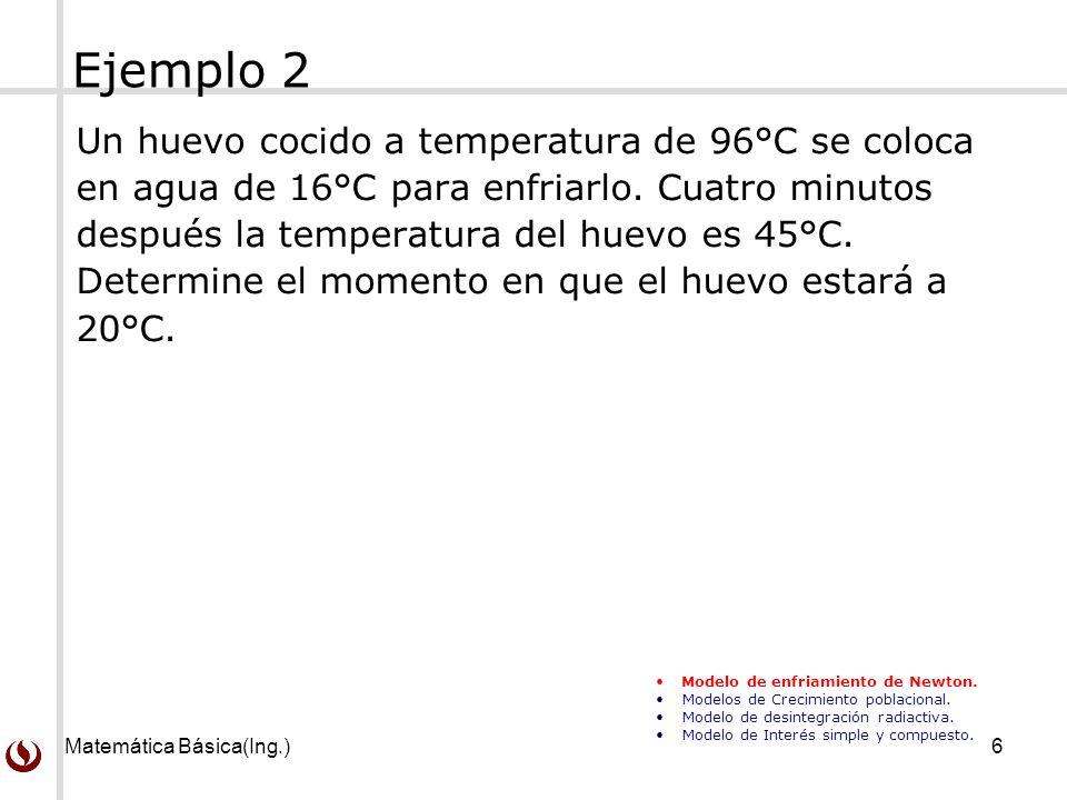 Matemática Básica(Ing.)6 Ejemplo 2 Un huevo cocido a temperatura de 96°C se coloca en agua de 16°C para enfriarlo. Cuatro minutos después la temperatu