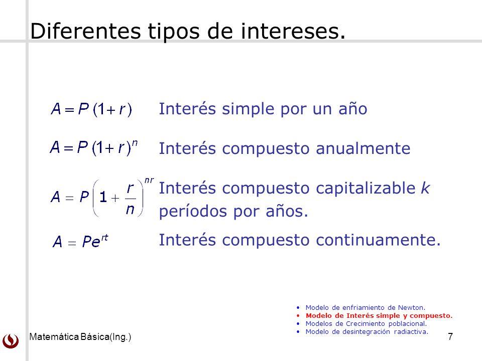 Matemática Básica(Ing.)7 Diferentes tipos de intereses. Interés simple por un año Interés compuesto capitalizable k períodos por años. Interés compues