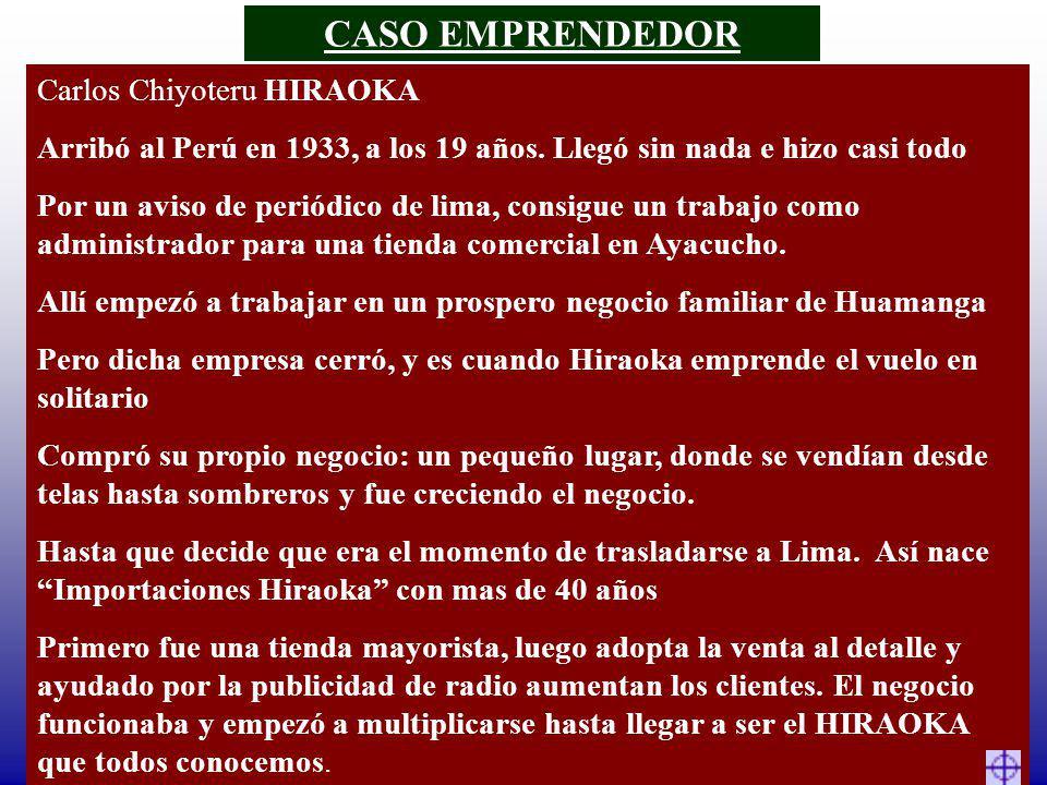 Carlos Chiyoteru HIRAOKA Arribó al Perú en 1933, a los 19 años. Llegó sin nada e hizo casi todo Por un aviso de periódico de lima, consigue un trabajo