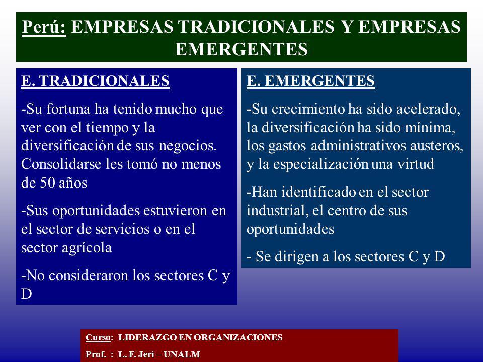 Perú: EMPRESAS TRADICIONALES Y EMPRESAS EMERGENTES E. TRADICIONALES -Su fortuna ha tenido mucho que ver con el tiempo y la diversificación de sus nego