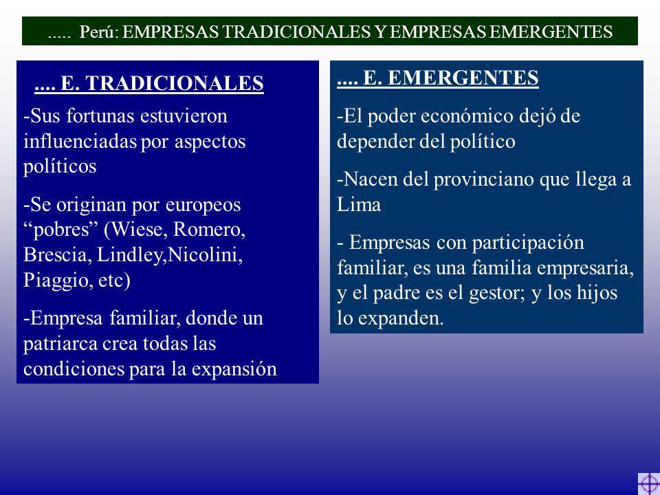 -Sus fortunas estuvieron influenciadas por aspectos políticos -Se originan por europeos pobres (Wiese, Romero, Brescia, Lindley,Nicolini, Piaggio, etc