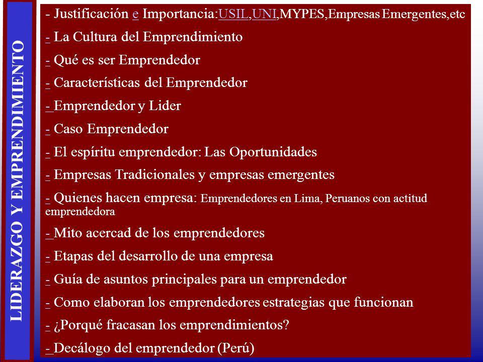LIDERAZGO Y EMPRENDIMIENTO - Justificación e Importancia: USIL,UNI,MYPES,Empresas Emergentes,etce USILUNI -- La Cultura del Emprendimiento -- Qué es s