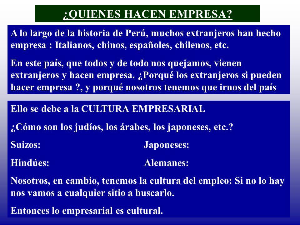 ¿QUIENES HACEN EMPRESA? A lo largo de la historia de Perú, muchos extranjeros han hecho empresa : Italianos, chinos, españoles, chilenos, etc. En este