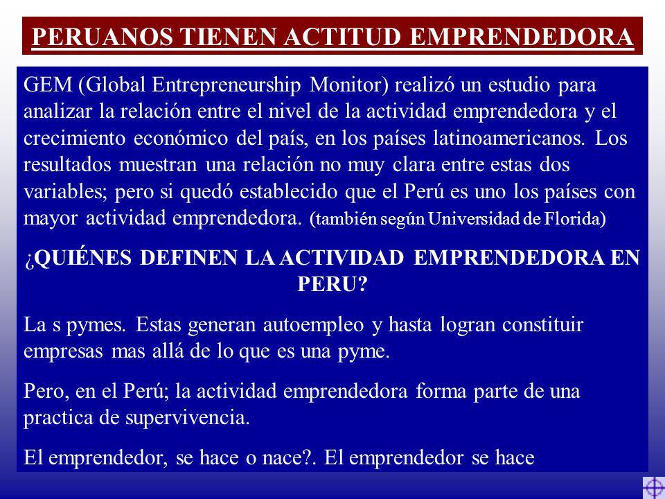 PERUANOS TIENEN ACTITUD EMPRENDEDORA GEM (Global Entrepreneurship Monitor) realizó un estudio para analizar la relación entre el nivel de la actividad