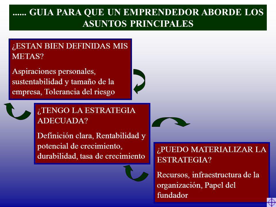 ...... GUIA PARA QUE UN EMPRENDEDOR ABORDE LOS ASUNTOS PRINCIPALES ¿ESTAN BIEN DEFINIDAS MIS METAS? Aspiraciones personales, sustentabilidad y tamaño
