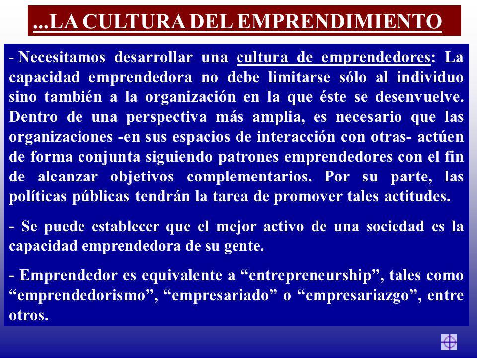 - Necesitamos desarrollar una cultura de emprendedores: La capacidad emprendedora no debe limitarse sólo al individuo sino también a la organización e